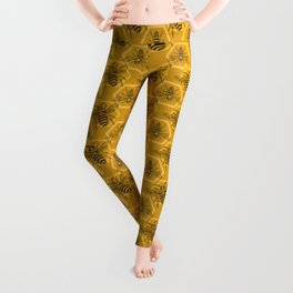 Honey Bees on a Hive of Hexagons Leggings