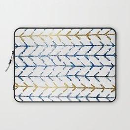 Indigo Gold Herringbone Pattern Laptop Sleeve