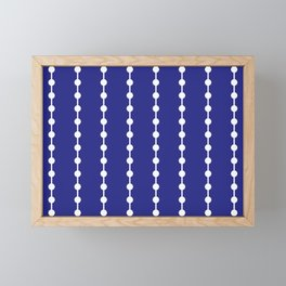 Geometric Droplets Pattern Linked White on Navy Blue Framed Mini Art Print