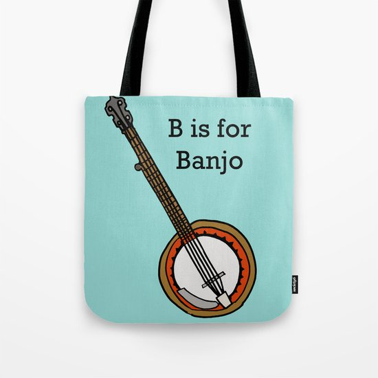 B is for Banjo, typed. Tote Bag