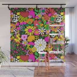60's Groovy Garden in Chocolate Brown Wall Mural