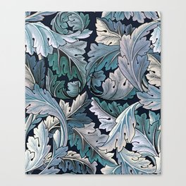 Art Nouveau William Morris Blue Acanthus Leaves Canvas Print