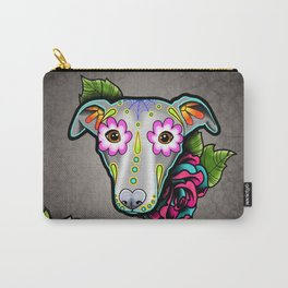 Greyhound - Whippet - Day of the Dead Sugar Skull Dog Carry-All Pouch