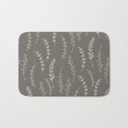 Simple Botanical Pattern in Gray Monochrome Bath Mat