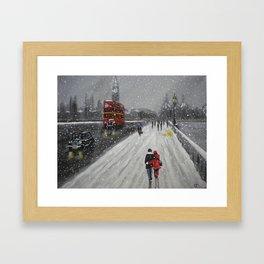 Snow on Westminster Bridge Framed Art Print
