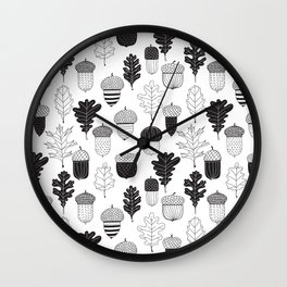 Acorns and oak leaves autumn pattern Wall Clock