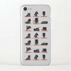 Black Pug Yoga Clear iPhone Case