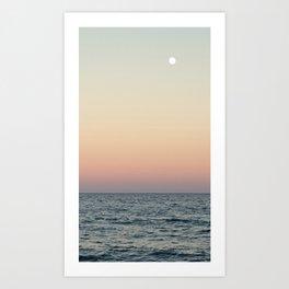 Sunset and full moon Art Print
