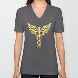 Gold Polygonal Symbol Caduceus Unisex V-Neck