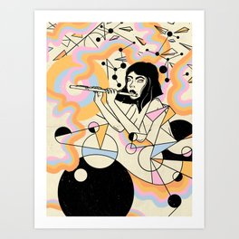 Flute girl geometric abstract surrealism Art Print