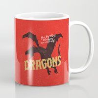 mother of dragons Mugs featuring Dragons by WEAREYAWN