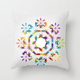 A large Colorful Christmas snowflake pattern- holiday season gifts- Happy new year gifts Throw Pillow