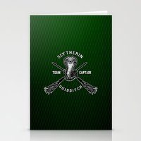 quidditch Stationery Cards featuring Slytherin quidditch team iPhone 4 4s 5 5c, ipod, ipad, pillow case, tshirt and mugs by Three Second