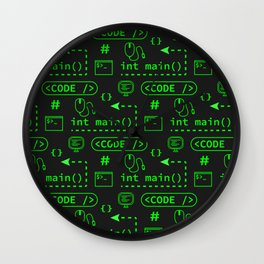 Love of Software Pattern - Green and Black Wall Clock
