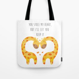 Giraffe Couple With Heart - You stole my hear but I will let you keep it - Happy Valentines Day Tote Bag