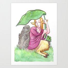 Faun Pin up : April Rain Art Print