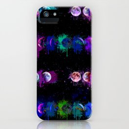 Lunar Phases Watercolor Drips iPhone Case