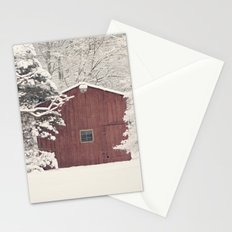 Red Barn on a Snowy Day Stationery Cards