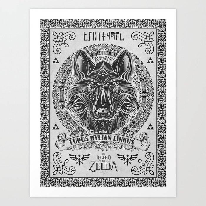 Legend of Zelda Twilight Wolf Link Line Art Art Print