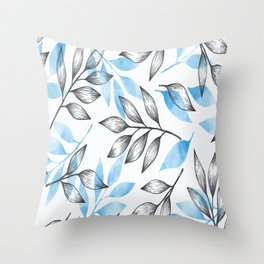 Leaves (Blue) Throw Pillow