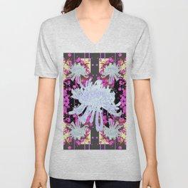 Black & Grey  Decorative Modern White Mums Patterns Flowers Unisex V-Neck