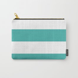 Wide Horizontal Stripes - White and Verdigris Carry-All Pouch