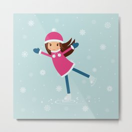 Little girl on skating rink Metal Print