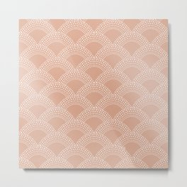 Elegant blush pink mermaid fish scale pattern Metal Print