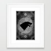 house stark Framed Art Prints featuring House Stark by Micheal Calcara