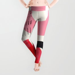 Vintage Abstract Mid Century Modern Playful Pink Red Candy Colors Organic Shapes Leggings