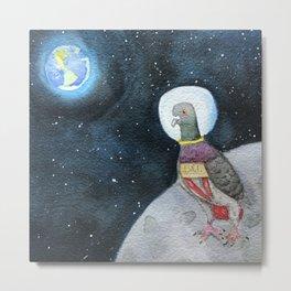 Pigeon in Space Metal Print