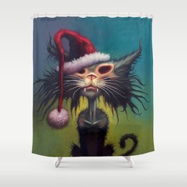 Zombie Cat Christmas Shower Curtain