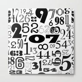The Numbers in Black and White Metal Print