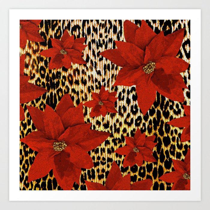 Animal Print Leopard and Red Poinsettia Kunstdrucke