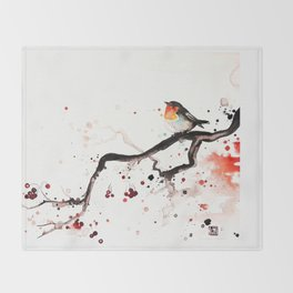 """The tiny wings """"The robin"""" Throw Blanket"""