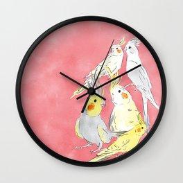 cockatiel watercolor illustration Wall Clock