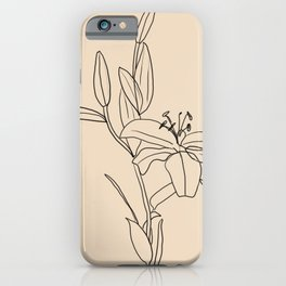 Lily Flower Line Drawing iPhone Case