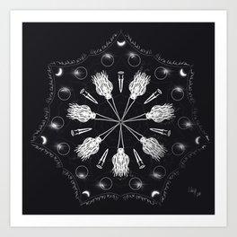 Circle of Brooms Magical Mandala Art Print