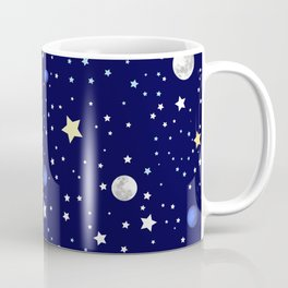 Universe pattern; Moon, Stars and Neptune Coffee Mug