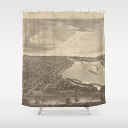 Vintage Pictorial Map of Davenport IA (1875) Shower Curtain