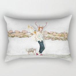 Deer Woman and Butterfly Cat Rectangular Pillow
