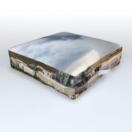 Nevermind the Weather - Oil Rig and Passing Storm in Oklahoma Outdoor Floor Cushion