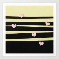 Pink Hearts on Black Paper Cut Art Print