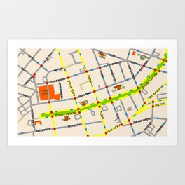Tel Aviv map - Rothschild Blvd. Hebrew Art Print