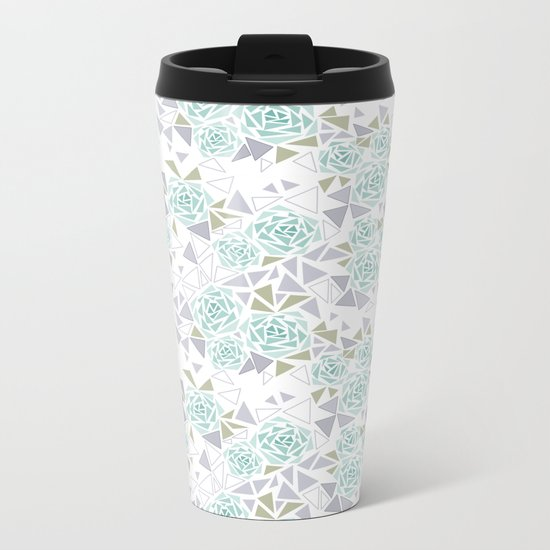 Modern . Geometric pattern . Rose .2 Metal Travel Mug