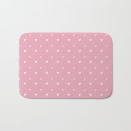 Small sketchy white hearts pattern on pink background Bath Mat