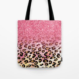 Cute girly trendy bubble gum pink faux glitter leopard animal print pattern Tote Bag