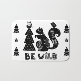 Be Wild Cute Owl And Squirrel In Scandinavian Style Bath Mat