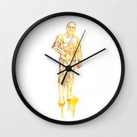 c3po Wall Clocks featuring C3PO by Jon Hernandez