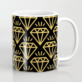 Diamond Jewel Pattern 239 yellow and Black Coffee Mug